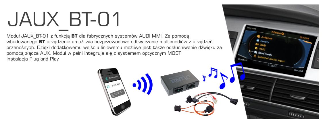 Adapter AUX IN do systemów MMI 2G AUDI A6, A8, Q7